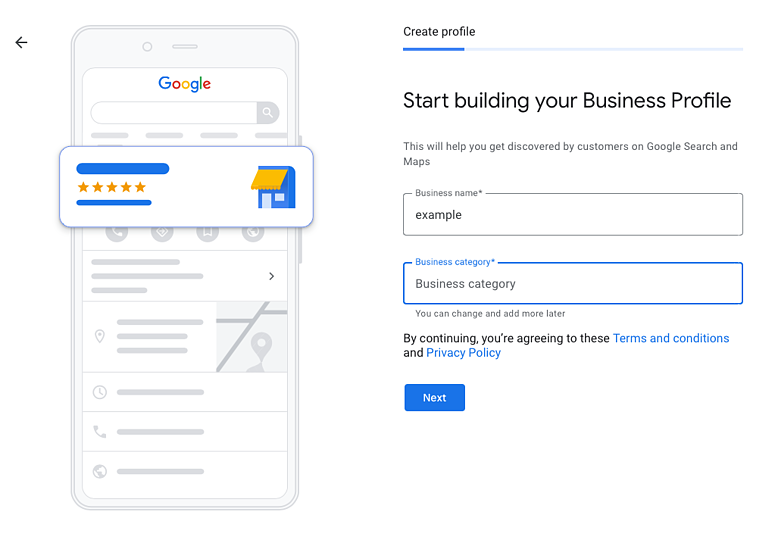 Business Name and Category Screenshot - Google My Business